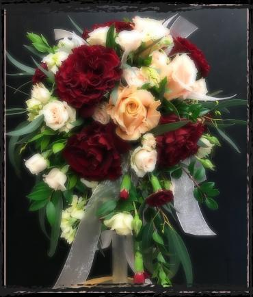 Red, Peach & Cream Bridal Bouquet