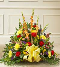 Multicolor Bright Mixed Flower Fireside Basket