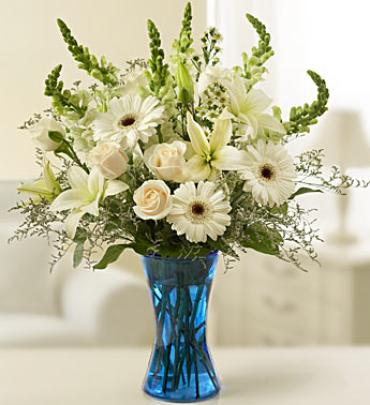 Blue and White Sympathy Vase Arrangement