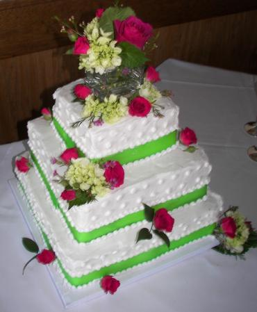 Hot Pink & Chartreuse Cake Flowers