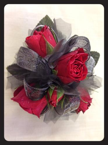 Steel & Red Rose Corsage