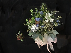 Wild Flower & Sedum Wedding Bouquet & Boutonniere