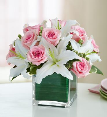 Modern Embrace Rose and Lily Cube Bouquet