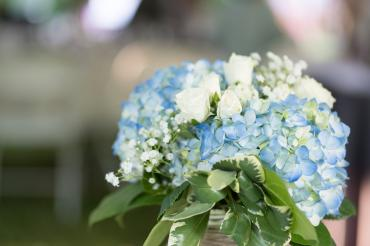 Blue Hydrangea Mason Jar Arrangement Pic bt JMost Photography
