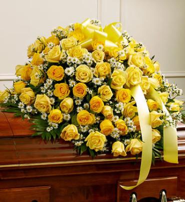 Yellow and White Rose Half Casket Cover